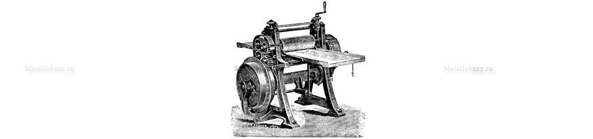 Чертеж станка Леонардо да Винчи для ручной прокатки листа из олова